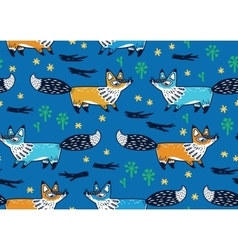 Cute seamless pattern with foxes vector image vector image
