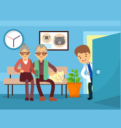 elderly couple and cat at veterinarian vector image vector image