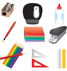 school or office supplies vector image vector image