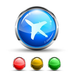 Airplane Cristal Glossy Button vector image vector image