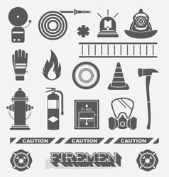 Firefighter Flat Icons and Symbols vector image