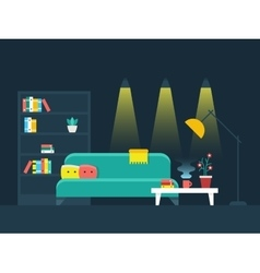 Living room interior flat vector image