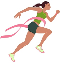 Run for the cure for breast cancer vector image