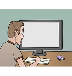 surprised man near blank monitor vector image vector image