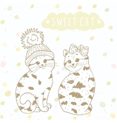 Two cute kitten vector image vector image