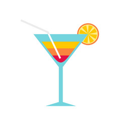beach cocktail icon flat style vector image vector image