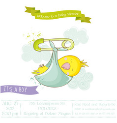 cute newborn parrot baby shower or arrival card vector image vector image