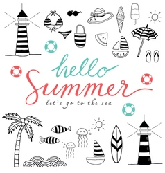 hello summer black icons vector image