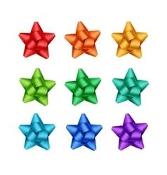 Set of Red Orange Blue Green Violet Ribbon Bows vector image vector image