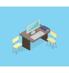 Workplace Empty Isolated Design Isometric vector image