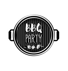 bbq party banner grill badge isolated on white vector image