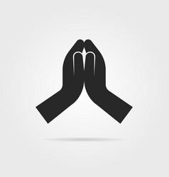 black praying hands icon vector image