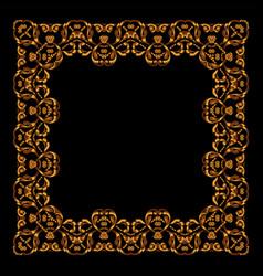 golden frame square vintage card vector image
