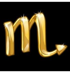 Golden zodiac sign Scorpio on black background vector image vector image