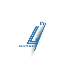 4 anniversary blue cut style isolated on white vector