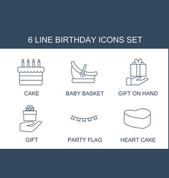 6 birthday icons vector