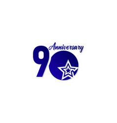 90 years anniversary celebration star blue logo vector
