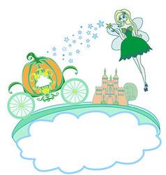 A fairy and a pumpkin carriage vector