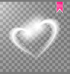 a shiny heart sparkles on a transparent background vector image