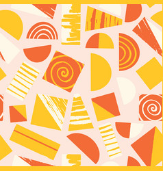 abstract shapes yellow orange white on pink vector image