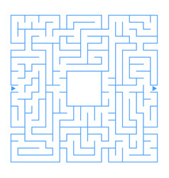 Abstract square isolated labyrinth blue color on vector