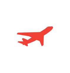 Airplane red icon on white background red flat vector