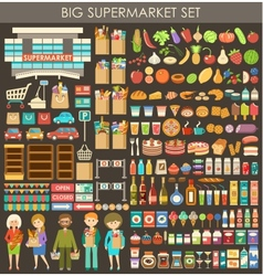 Big supermarket set vector image