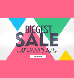 Biggest sale banner design with offer details vector
