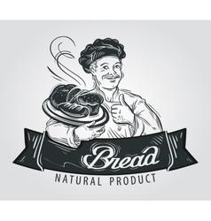 bread logo design template hot pastry vector image