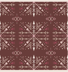 Brown ethnic seamless pattern with tribal elements vector