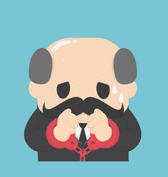 Businessman tied up in handcuffs vector