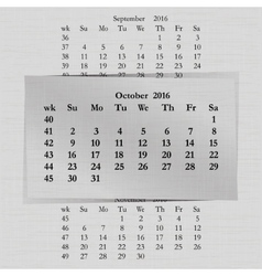 calendar month for 2016 pages October vector image