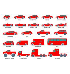 car type icons set model automobile black vector image