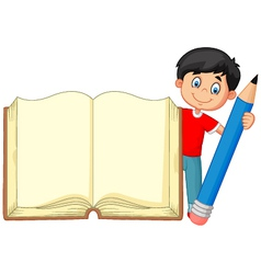 Cartoon boy holding giant book and pencil vector