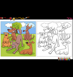 cartoon dogs group coloring book page vector image