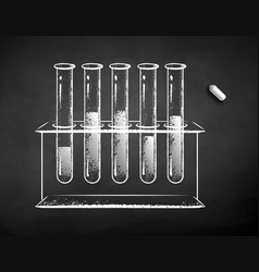 chalk drawn chemical flask vector image