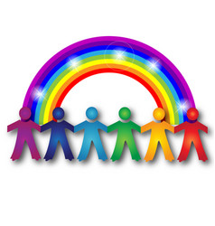children teamwork with a rainbow logo image vector image