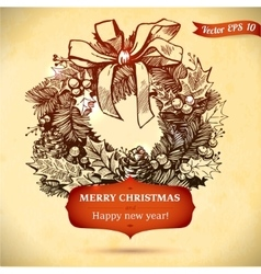 Christmas and New year holidays hand drawn vector image