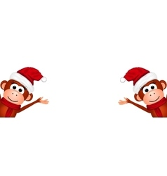 Christmas card with monkeys vector image
