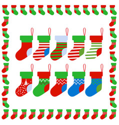 christmas socks with socks frame vector image