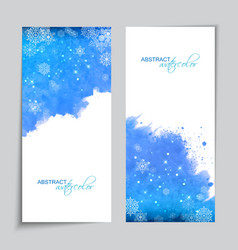 Christmas Watercolor Blue Banners vector image