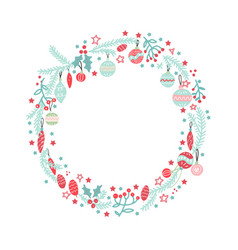 christmas wreath with balls berries branches and vector image
