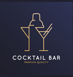 Cocktail bar logo with shaker and glass vector