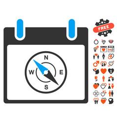 Compass calendar day icon with valentine bonus vector