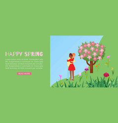 Concept happy spring love or valentine day vector