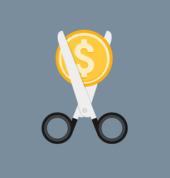 cost cut icon price cheaper reduce flat vector image