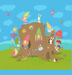 cute cartoon gnomes in a stump house magic forest vector image