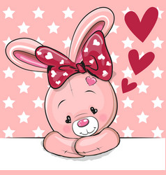 Cute cartoon rabbit with hearts vector