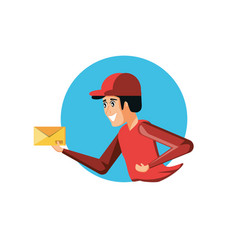 Delivery worker with envelope vector