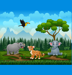 different kind animals in park vector image